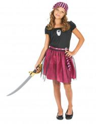 Costume pirata rosa con brillantini per bambina