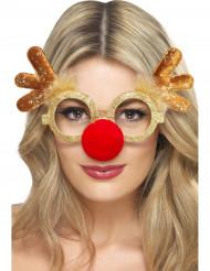 Occhiali dorati da renna adulto Natale