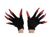 Guanti neri con unghie rosse