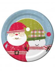 8 piatti grandi Babbo Natale rétro