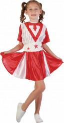 Costume ragazza pompon bambina bianco e rosso