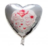 Pallone cuore argentato cupido