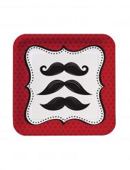 Confezione 8 piatti con baffi