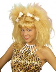 Parrucca da donna delle caverne bionda per adulto