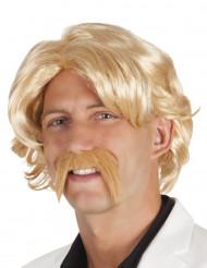 Parrucca bionda con baffi uomo
