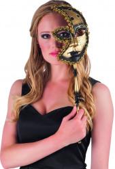 Image of Mascherina veneziana oro e nero per adulto