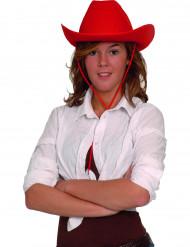 Cappello cowboy rosso adulto