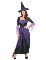 Costume da strega viola e nero