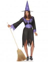 Costume da strega dettagli viola per donna