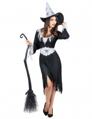 Costume da strega con dettagli ragnatela per donna