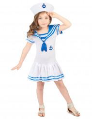 Costume da marinaretta bianco e azzurro per bambina