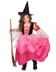 Costume strega rosa bambina