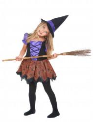 Costume strega viola con ragni bambina