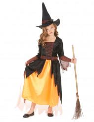 Costume strega arancione bambina