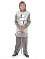 Costume cavaliere con croce argentata bambino