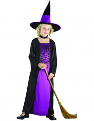Costume strega viola con girocollo per bambina