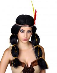 Parrucca da indiana con piume donna