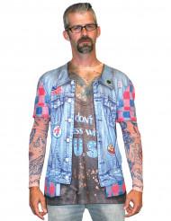 T-shirt giacca di jeans tatuata adulto