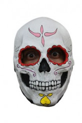 Maschera scheletro contorno occhi rossi