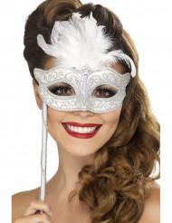 Mascherina veneziana bianca su bastoncino