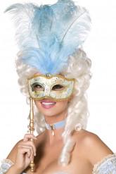 Maschera veneziana celeste e oro da adulto