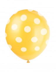 6 palloncini gialli a pois bianchi