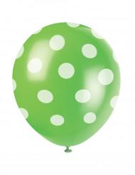 6 Palloncini verdi a pois bianchi