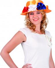 Cappello arancione con fiori per adulto