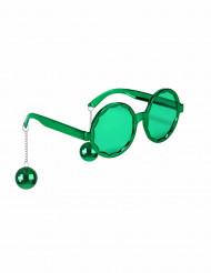 Occhiali disco verdi con sfere adulto