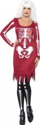 Costume scheletro rosso dona Halloween