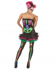 Costume da scheletro colorato per donna