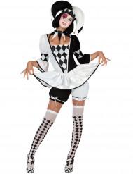 Costume giullare bianco e nero donna