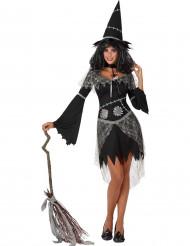 Costume da strega con toppe e pizzi per donna