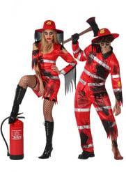 Costumi da coppia vigili del fuoco zombie