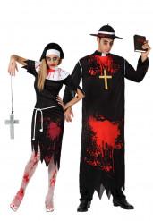 Costume coppia di suora e prete horror