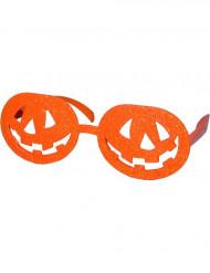 Occhiali arancioni con lenti a forma di zucca