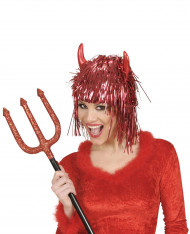 Parrucca metallica diavolo rosso adulto
