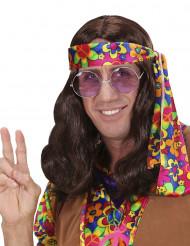 Parrucca marrone hippy adulto