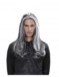 Parrucca lunga vampiro bicolore adulto halloween