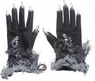 Guanti con unghie argentate Halloween