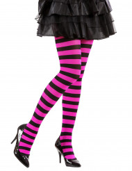 Collants a righe nere e rosa adulto