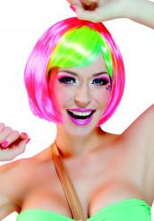 Parrucca verde e rosa fluo da donna