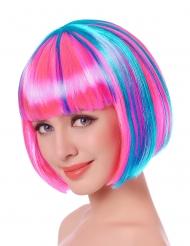 Parrucca corta fucsia con meches blu donna