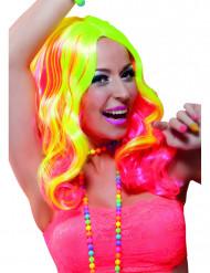 Parrucca lunga rosa e giallo fluo