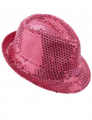 Cappello paillettato rosa fluo adulto