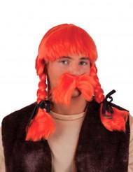 Parrucca arancione per Galli adulto
