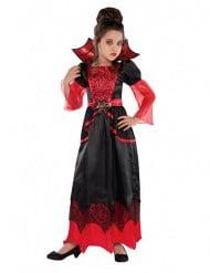 Costume vampiro bambina rosso e nero Halloween