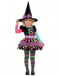 Costume strega colorata a pois bambina Halloween