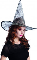 Cappello da strega con ragnatele di tulle trasparente per Halloween