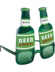 Occhiali bottiglia di birra verde adulto